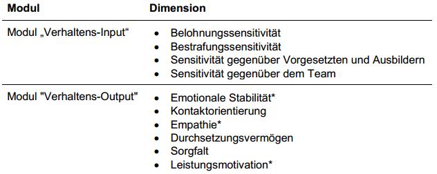 """* Dimensionen des Kurz-Moduls """"Verhaltens-Output"""""""